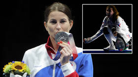 Epic win: Fencing star Korobeynikova beats two-time Euro queen for bronze at Tokyo Olympics as champ Deriglazova earns silver