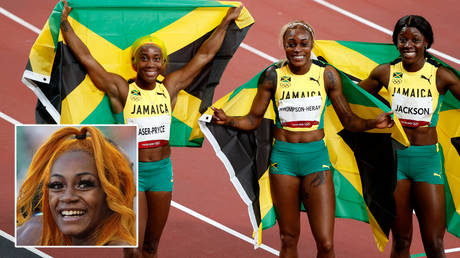 Sha'Carri Richardson (inset) praised Jamaica's sprint stars at the Olympics © Kirby Lee / USA Today Sports via Reuters | © Phil Noble / Reuters