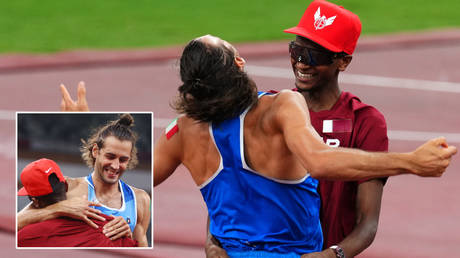 Golden boys: Olympic stars Mutaz Barshim and Gianmarco Tamberi agree to SHARE high jump gold after nail-biting finish (VIDEO)