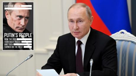 "Vladimir Putin in Moscow, Russia. © Sputnik; (inset) ""Putin's People"" by Catherine Belton. © Amazon"