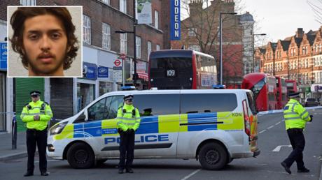 FILE PHOTO. Streatham, south London, Britain, February 3, 2020. © Reuters / Toby Melville; (inset) Sudesh Amman. © Metropolitan Police