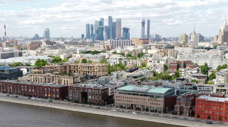 An aerial view shows an embankment of the Moskva River in Moscow, Russia, May 30, 2021.