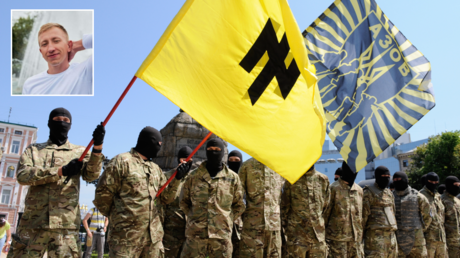 FILE PHOTO. Azov battalion soldiers take an oath of allegiance to Ukraine in Kiev's Sophia Square before being sent to the Donbass region. © Sputnik; (inset) Vitaly Shishov.