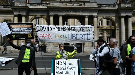 """Demonstrators hold up banners and placard, one of which reads as """"No to Health Pass"""" outside the Constitutional court in Paris on August 5, 2021."""
