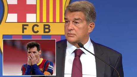 Barcelona president spoke about the exit of club icon Lionel Messi. © Twitter @FCBarcelona / Reuters