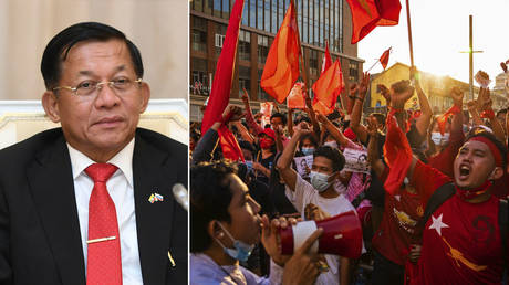 (L) Min Aung Hline © Wikipedia; (R) Protesters shout slogans while carrying red flags on February 07, 2021 in downtown Yangon, Myanmar. © Getty Images/Getty Images