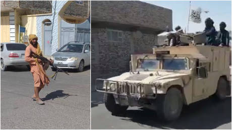 Taliban fighters are seen after seizing Zaranj, the capital of Afghanistan's Nimroz province, with some spotted driving in captured American-made Humvees, August 6, 2021.