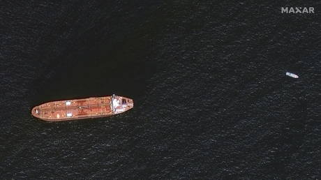A satellite image shows the damaged Mercer Street Tanker moored off the coast of Fujairah, United Arab Emirates, August 4, 2021.