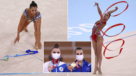 (L) Linoy Ashram of Israel in action with ribbon. © REUTERS/Lindsey Wasson; (R) Dina Averina of the Russian Olympic Committee in action with ribbon. © REUTERS/Mike Blake; Inset: (L) Dina Averina and Linoy Ashram at the medal ceremony on August 7, 2021 © REUTERS/Lisi Niesner