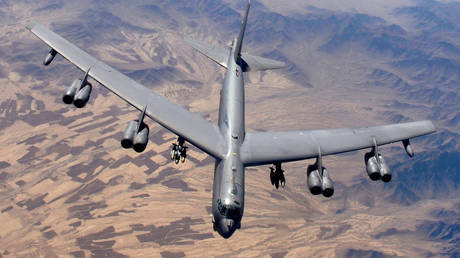 FILE PHOTO. A B-52 Stratofortress prepares for refueling over Afghanistan.