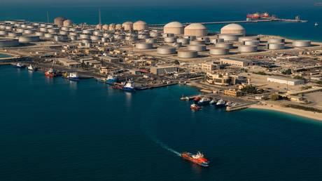 Saudi Arabia's state-owned oil and gas company's Dhahran oil plants, in eastern Saudi Arabia.
