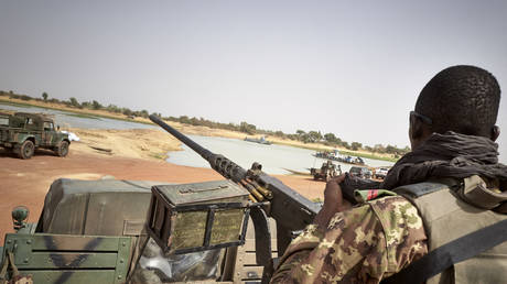 FILE PHOTO: A soldier of the Malian army is seen during a patrol on the road between Mopti and Djenne, in central Mali, on February 28, 2020. © MICHELE CATTANI / AFP