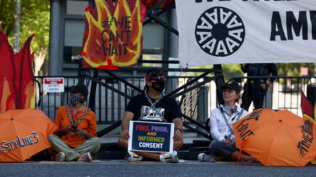 Environmental activists protest outside the White House in Washington, U.S.