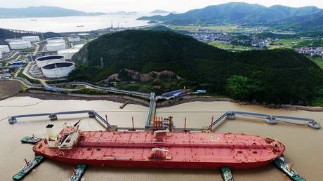 Oil tanker is seen at a crude oil terminal in Ningbo Zhoushan port, China