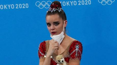 A distraught Dina Averina reacts to winning silver - Reuters