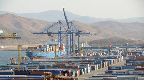 A general view of a container terminal of the Vostochny Port near the far eastern town of Nakhodka, Russia. November 15, 2017.