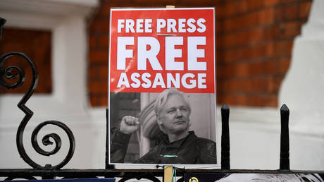 FILE PHOTO. A supporter of WikiLeaks founder Julian Assange holds a placard outside the Ecuadorian Embassy in London. © AFP / Daniel LEAL-OLIVAS