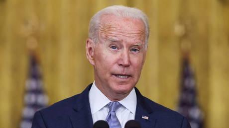 President Joe Biden is shown speaking at the White House on Thursday.