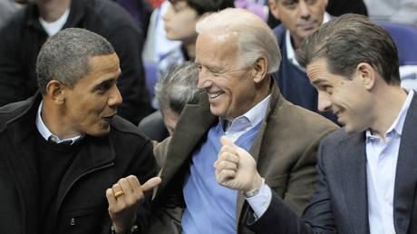 FILE PHOTO: Barack Obama (L-R), Joe Biden and Biden's son Hunter Biden