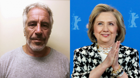 Jeffrey Epstein and Hillary Clinton © Reuters / New York State Division of Criminal Justice Services and Michele Tantussi