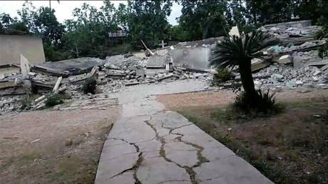FILE PHOTO: Damage is seen in an area after a major earthquake struck southwestern Haiti, in Latiboliere, Jeremie, Haiti August 14, 2021, obtained from video. © Sidney Marcelin vis Reuters