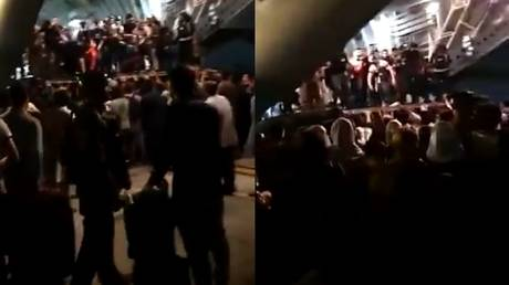 Stills taken from a video being shared online appears to show people being evacuated in a C-17 Globemaster III at the Hamid Karzai International Airport in Kabul.