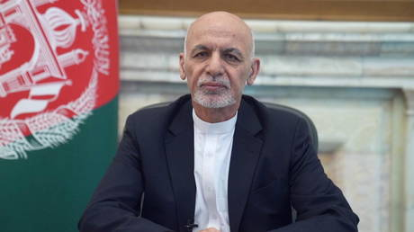 Afghanistan's President Ashraf Ghani addresses the nation in a message in Kabul, Afghanistan August 14, 2021. © Afghan Presidential Palace/Handout via REUTERS