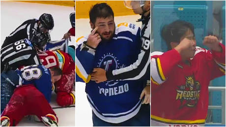 A Russian hockey player has apologized after an unsavory incident during a match © Instagram / tvproductionkz