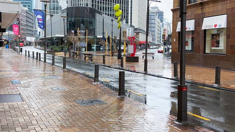 The Lambton Quay business district is devoid of people on the first day of a lockdown to curb the spread of a new coronavirus outbreak, in Wellington, New Zealand, August 18, 2021.