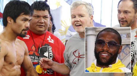 Manny Pacquiao (far left) could meet Floyd Mayweather (inset) again © Lucy Nicholson / Reuters | © Jasen Vinlove / USA Today Sports via Reuters