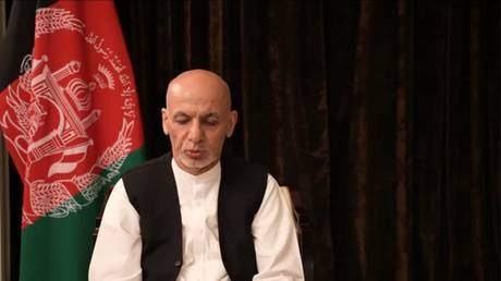 Former Afghan President Ashraf Ghani appears in a video message from UAE, August 18, 2021
