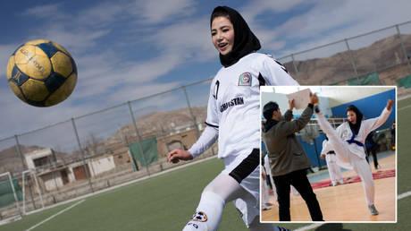 Afghan women are shown enjoying sports in 2014 © Morteza Nikoubazl / Reuters