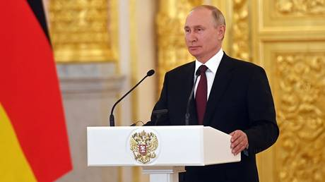 Russian President Vladimir Putin attends a joint news conference with German Chancellor Angela Merkel following their meeting at the Kremlin, in Moscow, Russia. © Sputnik