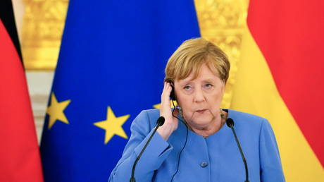 Chancellor Angela Merkel attends a news conference following talks with President Vladimir Putin at the Kremlin in Moscow, Russia on August 20, 2021.