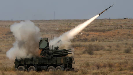 FILE PHOTO: A Russian Pantsir-S surface-to-air missile defense system fires a munition at the Ashuluk shooting range outside Astrakhan, Russia.