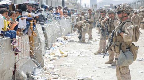 US Marines at Hamid Karzai International Airport in Kabul, Afghanistan, August 20, 2021.