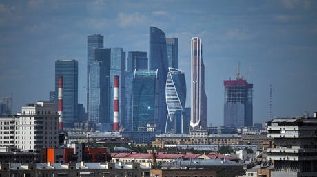 View of the skyscrapers of the Moscow International Business Center, 'Moscow-City', Moscow, Russia, May 26, 2021