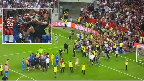 Violence marred the French league match between Nice and Marseille. © Twitter / AFP