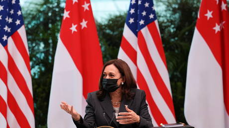 US Vice President Kamala Harris attends a roundtable at Gardens by the Bay in Singapore before departing for Vietnam on the second leg of her Asia trip, August, 24, 2021.