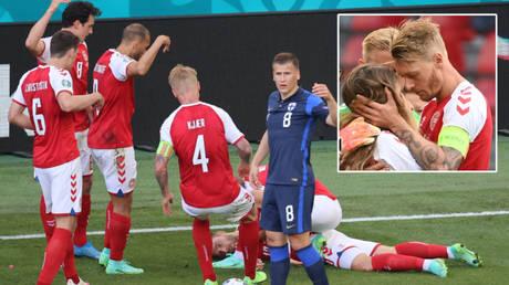 Simon Kjaer performed heroics during Christian Eriksen's ordeal at Euro 2020 © Wolfgang Rattay / Reuters | © Jonathan Nackstrand / Reuters
