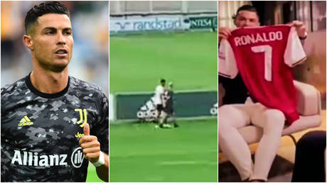 Cristiano Ronaldo left Juventus training early and has been advised to join Arsenal by Piers Morgan, who once presented him with a Gunners shirt © Massimo Pinca / Reuters | © Twitter / romeoagresti | © Twitter / keystone01
