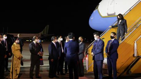 FILE PHOTO: US Vice President Kamala Harris arrives in Hanoi, Vietnam, on August, 24, 2021.