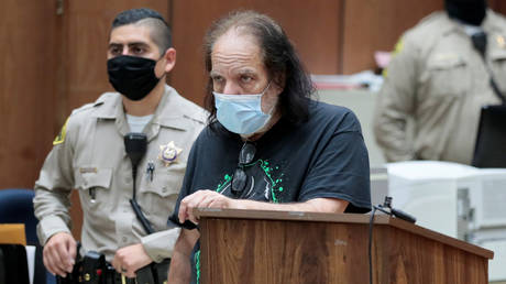 Adult film star Ron Jeremy appears for a hearing at the Los Angeles County Superior Court, California, June 23, 2020.