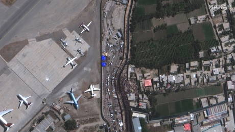 An overview of crowds at the Abbey Gate at Hamid Karzai International Airport, in Kabul, Afghanistan August 24, 2021.