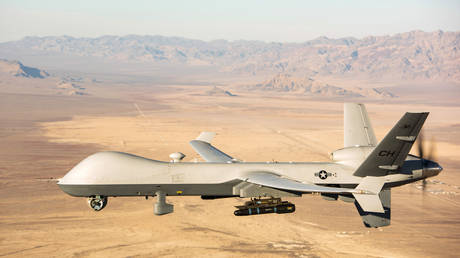 FILE PHOTO: An American MQ-9 Reaper drone is seen during a test flight, January 14, 2020.