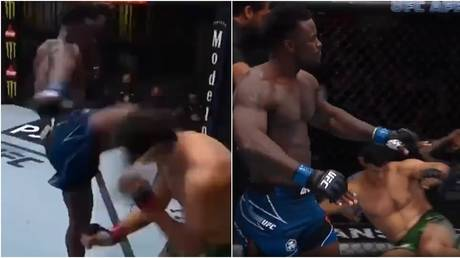 WATCH: UFC powerhouse Alhassan starches Italian rival with savage head-kick KO just 17 SECONDS into Las Vegas fight