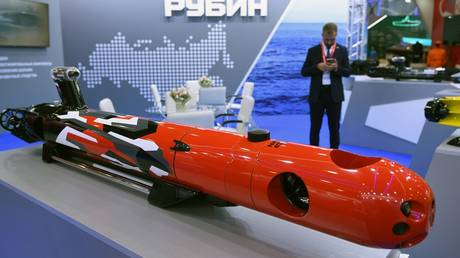 """Autonomous uninhabited underwater vehicle """"Amulet-2"""" of JSC """"Rubin"""", presented in the exhibition at the International Forum """"ARMY-2021"""" at the Patriot Convention and Exhibition Center. © RIA"""