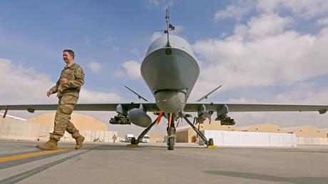 FILE PHOTO: MQ-9 Reaper drone at the Kandahar air base, Afghanistan January 23, 2018.