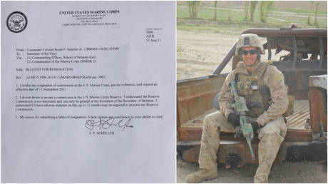 (L) Lt. Col. Stuart Scheller's resignation letter to the US Marine Corps; (R) A geared-up Scheller is seen in an undated photo posted to social media.