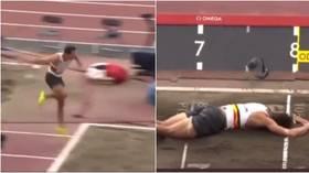 Belgian athlete Van der Plaetsen suffers horror long jump injury as he tumbles head-first into sand in Tokyo decathlon (VIDEO)